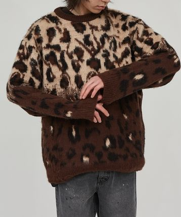 Raucohouse Sweaters Leopard Patterns Unisex Street Style Collaboration 5
