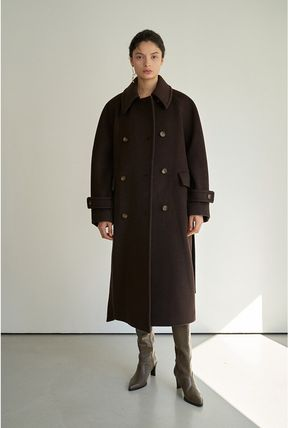 Formal Style  Stand Collar Coats Casual Style Wool Cashmere