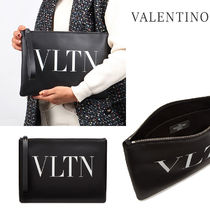 VALENTINO Casual Style Calfskin Street Style Office Style