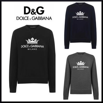 Dolce & Gabbana Sweatshirts Crew Neck Street Style Long Sleeves Logo Luxury Sweatshirts