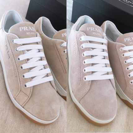 PRADA Casual Style Plain Leather Logo Low-Top Sneakers