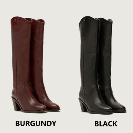 Cowboy Boots Round Toe Casual Style Street Style Plain