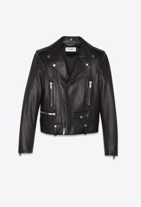 Saint Laurent Street Style Plain Leather Biker Jackets