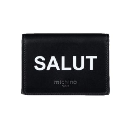 Calfskin Plain Folding Wallet Small Wallet Logo