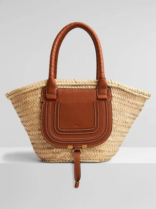 Chloe Marcie Plain Leather Logo Straw Bags