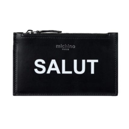 Calfskin Plain Small Wallet Logo Card Holders