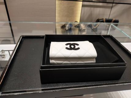 CHANEL MATELASSE Unisex Calfskin Plain Folding Wallet Small Wallet Bridal