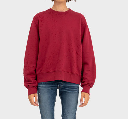 AMIRI Crew Neck Pullovers Street Style Long Sleeves Plain Cotton