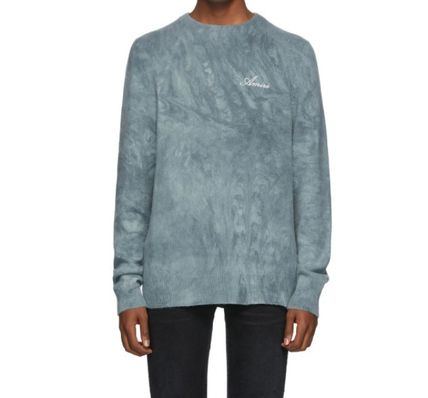 AMIRI Crew Neck Pullovers Cashmere Street Style Long Sleeves Plain