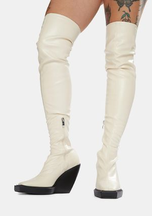 DOLLS KILL Casual Style Faux Fur Plain Over-the-Knee Boots