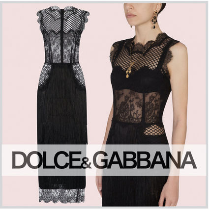 Dolce & Gabbana Tight Long Party Style Lace Elegant Style Bridal Sheer
