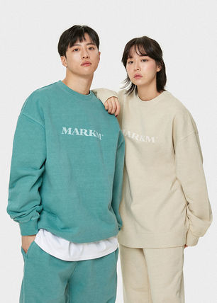 MARKM Crew Neck Unisex Street Style Long Sleeves Plain Cotton Logo