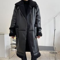 Casual Style Faux Fur Blended Fabrics Studded Street Style