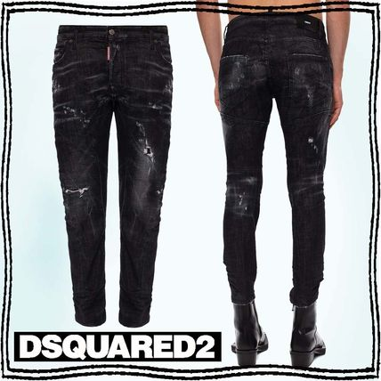 D SQUARED2 More Jeans Denim Blended Fabrics Street Style Plain Leather Cotton Logo