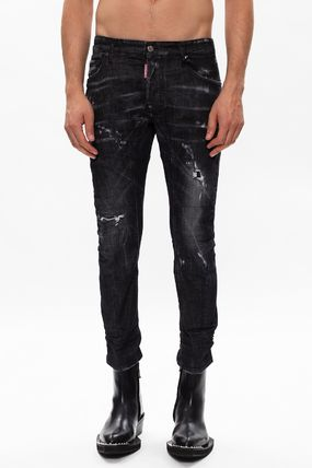 D SQUARED2 More Jeans Denim Blended Fabrics Street Style Plain Leather Cotton Logo 3