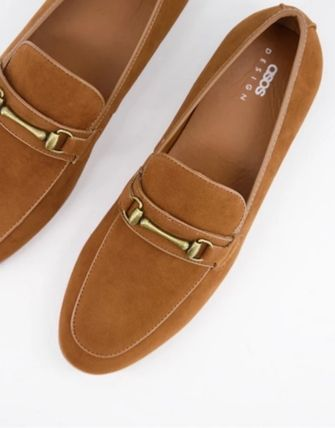 ASOS Loafers Suede Faux Fur Plain Street Style Loafers & Slip-ons