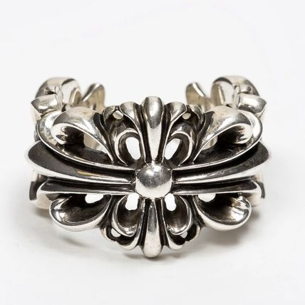 CHROME HEARTS FLORAL CROSS Flower Patterns Unisex Street Style Plain Silver Logo Rings