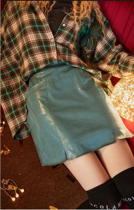 ELF SACK Pencil Skirts Short Casual Style Street Style Skirts
