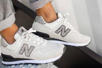 New Balance 574 Leopard Patterns Casual Style Logo Low-Top Sneakers