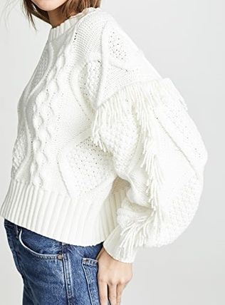 Casual Style Long Sleeves Plain V-neck & Crew neck