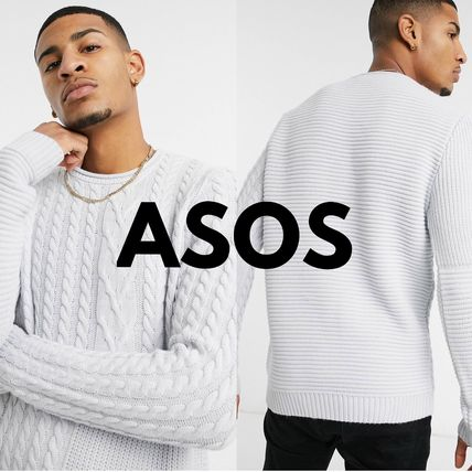 ASOS Vests & Gillets Crew Neck Cable Knit Pullovers Street Style Long Sleeves