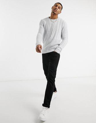 ASOS Vests & Gillets Crew Neck Cable Knit Pullovers Street Style Long Sleeves 2