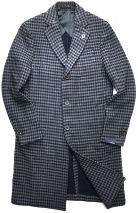 LARDINI Other Plaid Patterns Wool Chester Coats