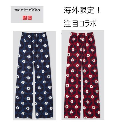 UNIQLO Printed Pants Flower Patterns Casual Style Bottoms