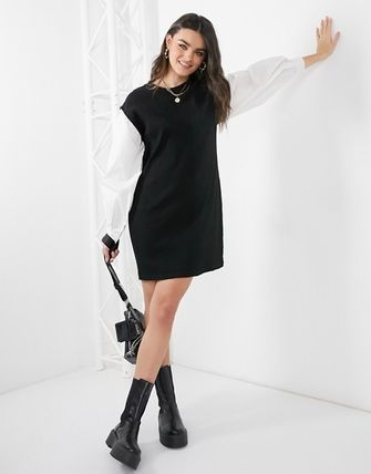 ASOS Vero Moda Sweater Dress With Puff Sleeves In Black
