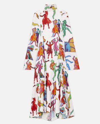 Stella McCartney Silk Flared Long Sleeves Long Party Style High-Neck Dresses