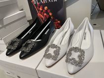 Manolo Blahnik Hangisi Casual Style Leather Party Style With Jewels Office Style