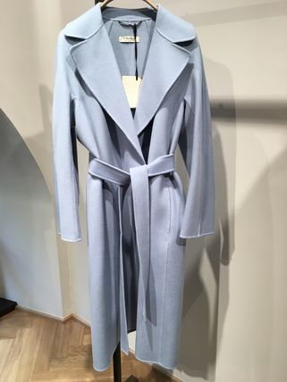 S Max Mara Wool Plain Medium Office Style Elegant Style Logo Wrap Coats