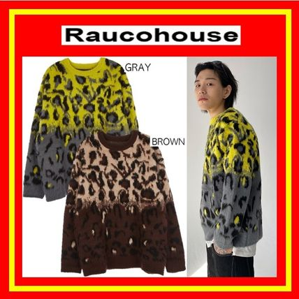 Raucohouse Sweaters Unisex Street Style Long Sleeves Oversized Sweaters
