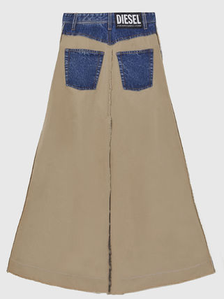 DIESEL Flared Skirts Denim Casual Style Plain Cotton Long