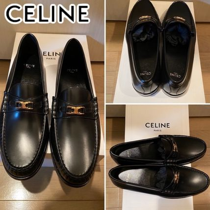 CELINE Moccasin Loafers Leather Bridal Logo Loafers & Slip-ons