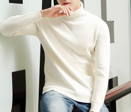 Vests & Gillets Cable Knit Pullovers Unisex Street Style Long Sleeves Plain 5