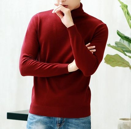 Vests & Gillets Cable Knit Pullovers Unisex Street Style Long Sleeves Plain 10