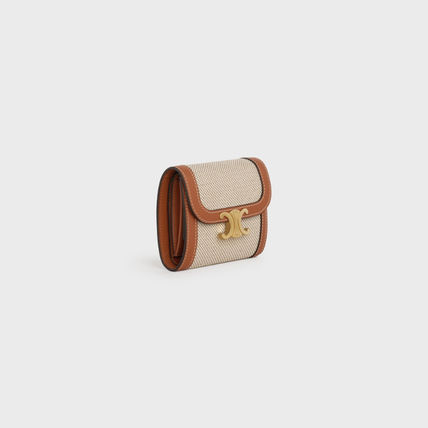 CELINE Triomphe Small Triomphe Wallet In Textile And Natural Calfskin