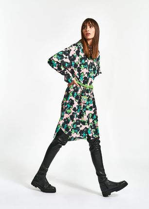 Wrap Dresses Flower Patterns A-line Blended Fabrics Flared