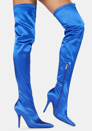 DOLLS KILL Casual Style Plain Pin Heels Party Style Over-the-Knee Boots