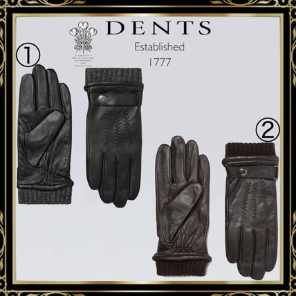 DENTS Wool Plain Leather Logo Leather & Faux Leather Gloves