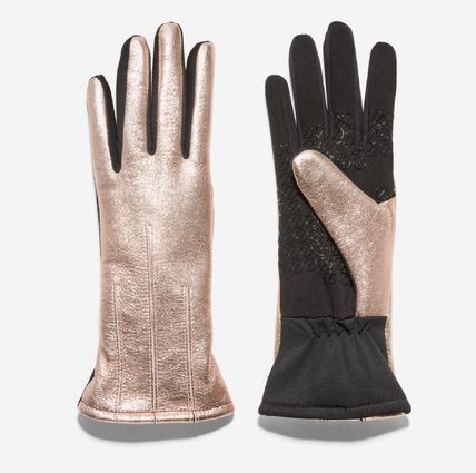 Cole Haan Plain Leather Leather & Faux Leather Gloves