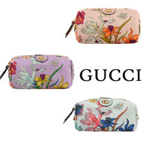 GUCCI Flower Patterns Canvas Logo Pouches & Cosmetic Bags