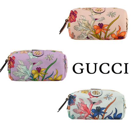 GUCCI Canvas Logo Flower Patterns Pouches & Cosmetic Bags