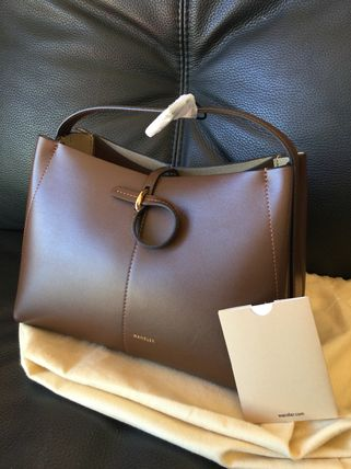 Casual Style 2WAY Plain Leather Office Style Crossbody Logo