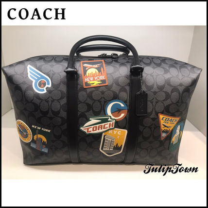 Coach Trekker Bag In Signature Canvas With Travel Patches