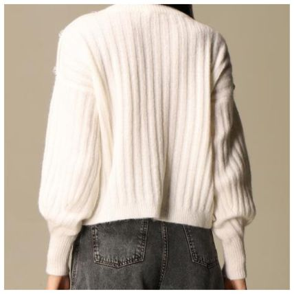 Crew Neck Casual Style Rib Long Sleeves Plain With Jewels