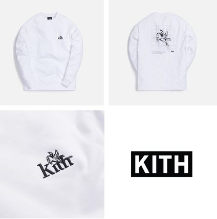 KITH NYC Long Sleeve Crew Neck Pullovers Unisex Street Style Long Sleeves Plain