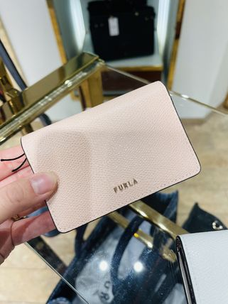 FURLA Flower Patterns Plain Leather Folding Wallet Logo