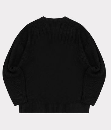 Crew Neck Pullovers Unisex Blended Fabrics Low Gauge